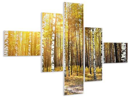 Hartschaumbild 5-teilig modern Birkenwald
