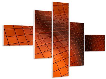 Hartschaumbild 5-teilig modern 3D-Kacheln