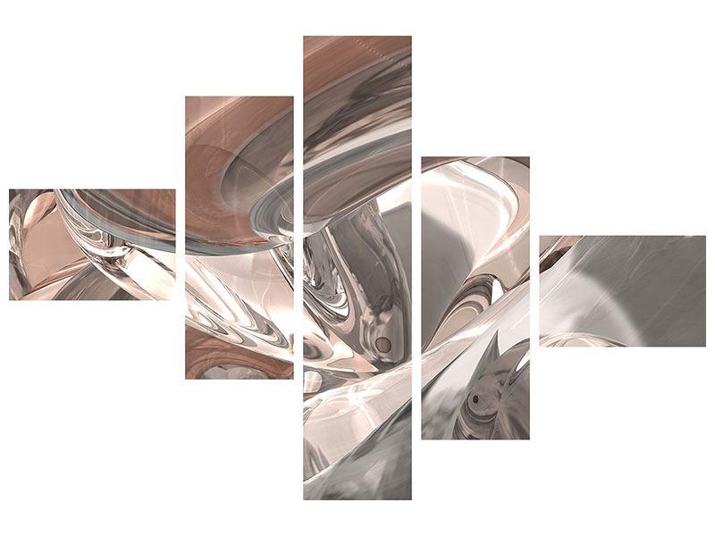 Hartschaumbild 5-teilig modern Abstraktes Glasfliessen