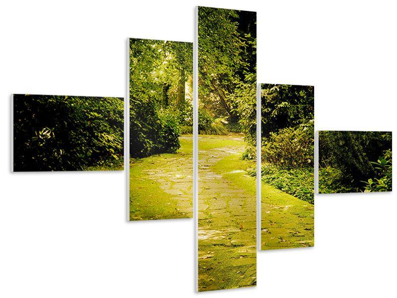 Hartschaumbild 5-teilig modern Der bemooste Weg