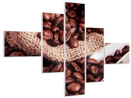 Hartschaumbild 5-teilig modern XXL Kaffeebohnen