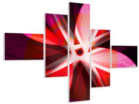 Hartschaumbild 5-teilig modern Abstrakt Flower Power