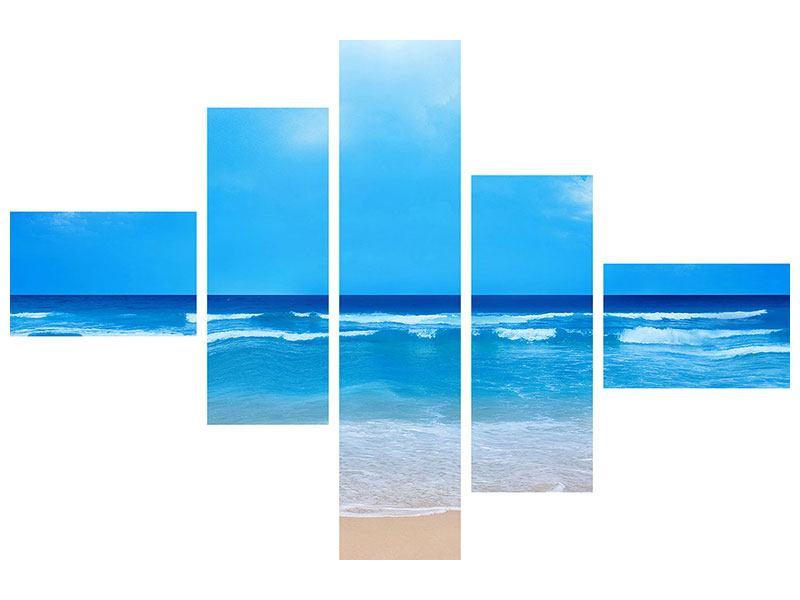 Hartschaumbild 5-teilig modern Sanfte Strandwellen
