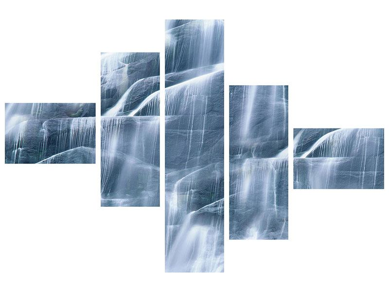 Hartschaumbild 5-teilig modern Grossartiger Wasserfall