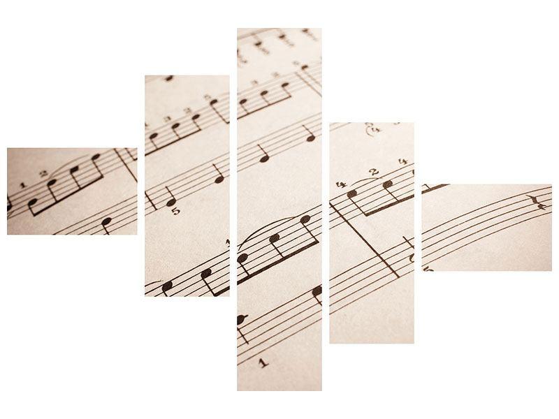 Hartschaumbild 5-teilig modern Das Notenblatt