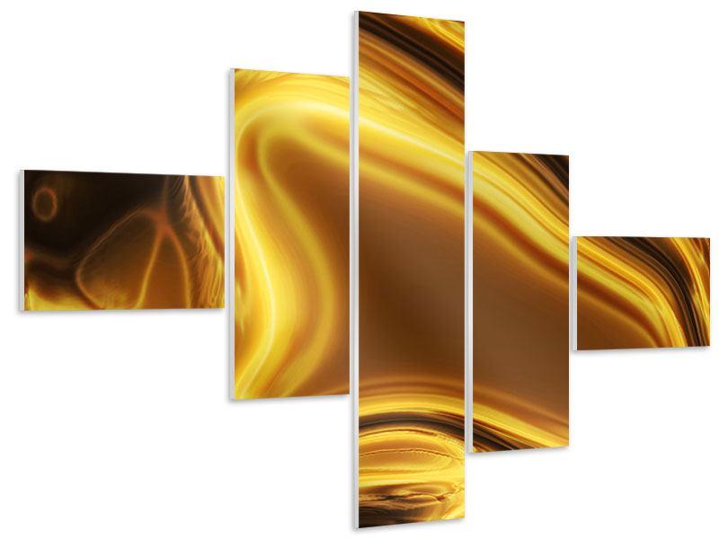 Hartschaumbild 5-teilig modern Abstrakt Flüssiges Gold