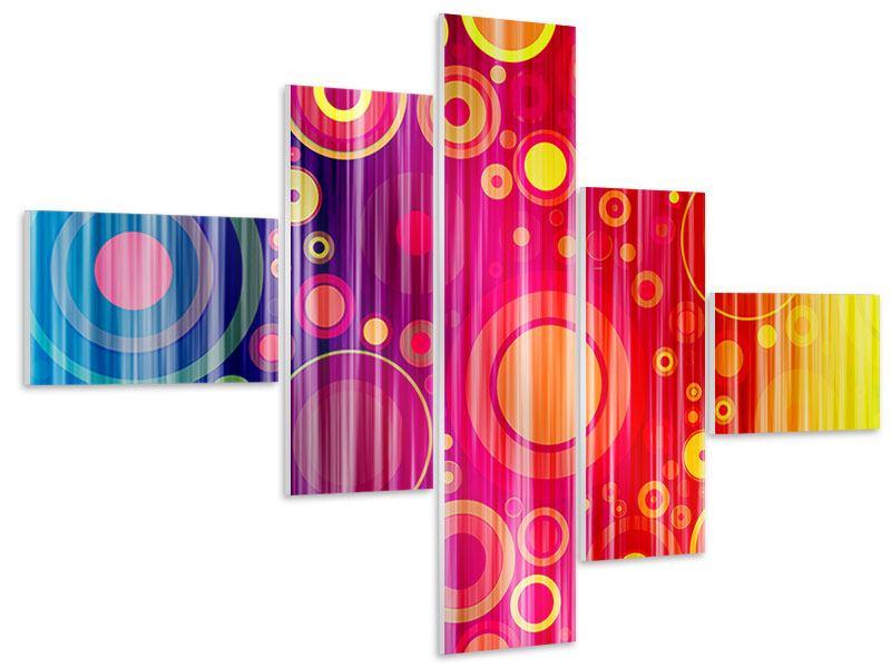 Hartschaumbild 5-teilig modern Grunge-Retrokreise