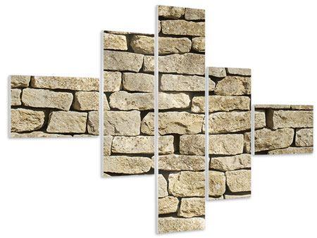 Hartschaumbild 5-teilig modern Alte Mauer