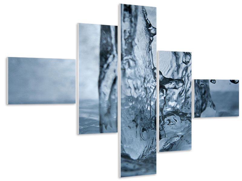 Hartschaumbild 5-teilig modern Wasserdynamik