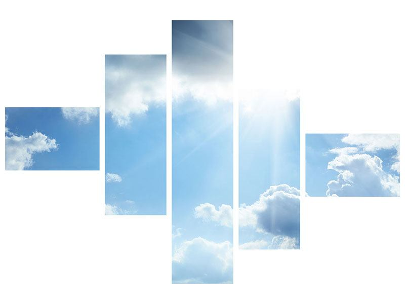 Hartschaumbild 5-teilig modern Himmelshoffnung