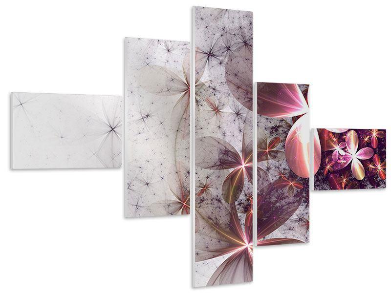 Hartschaumbild 5-teilig modern Abstrakte Blumen
