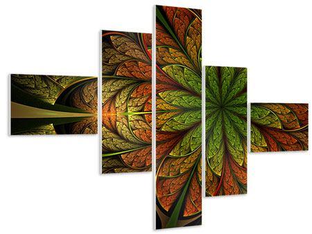 Hartschaumbild 5-teilig modern Abstraktes Blumenmuster