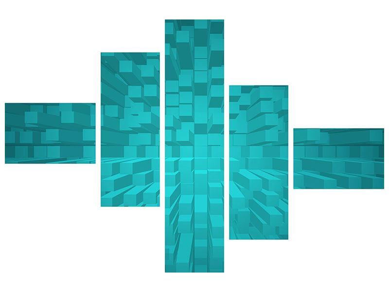 Hartschaumbild 5-teilig modern 3D-Kubusse