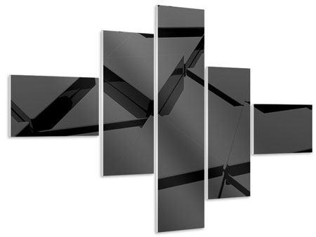 Hartschaumbild 5-teilig modern 3D-Dreiecksflächen