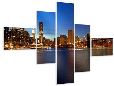 Hartschaumbild 5-teilig modern Skyline Manhattan im Lichtermeer