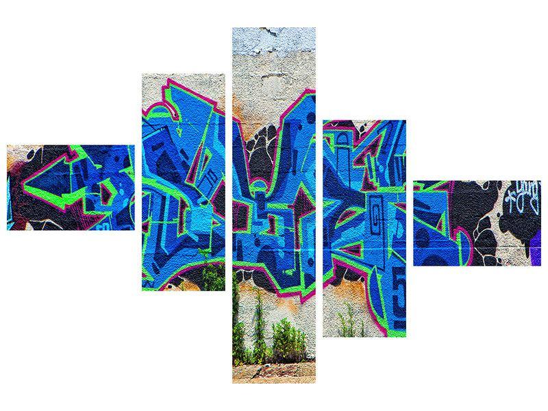 Hartschaumbild 5-teilig modern Graffiti NYC