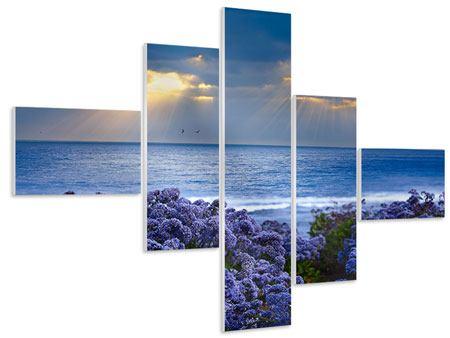 Hartschaumbild 5-teilig modern Der Lavendel und das Meer