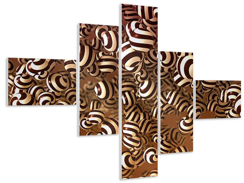 Hartschaumbild 5-teilig modern Schokoladen-Bonbons