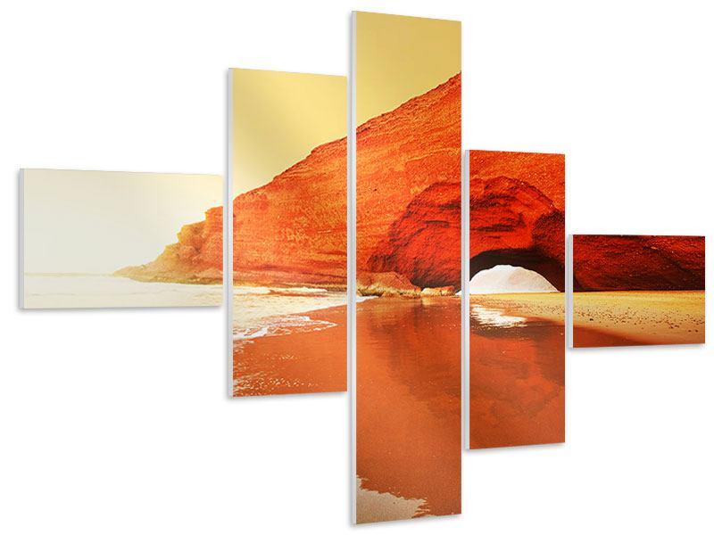 Hartschaumbild 5-teilig modern Wasserspiegelung