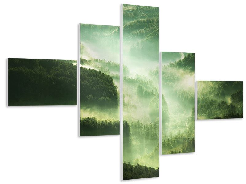Hartschaumbild 5-teilig modern Über den Wäldern