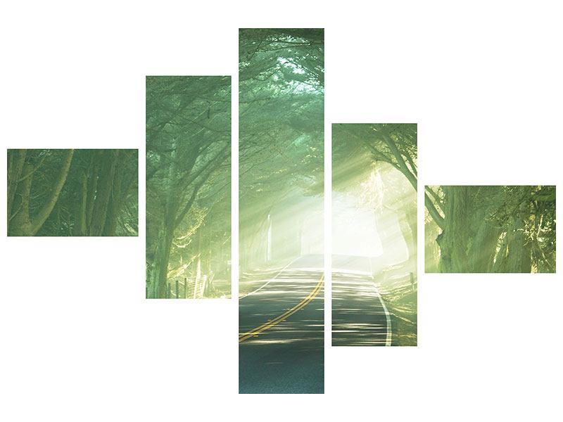 Hartschaumbild 5-teilig modern Die Allee