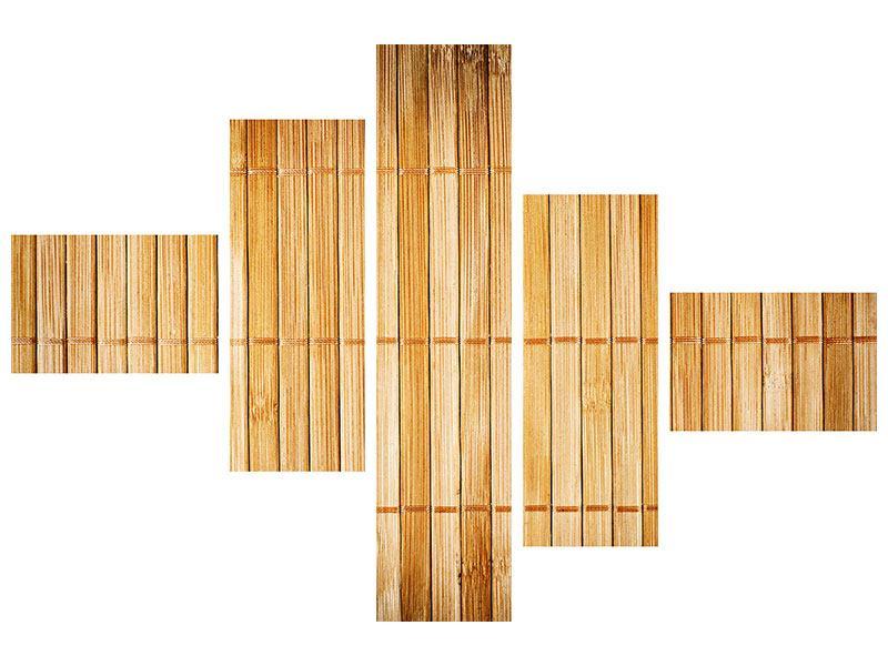 Hartschaumbild 5-teilig modern Bambusrohre