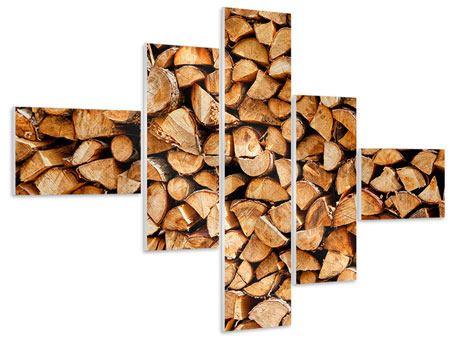 Hartschaumbild 5-teilig modern Gestapeltes Holz