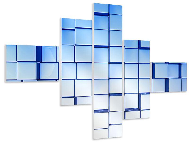 Hartschaumbild 5-teilig modern 3D-Symetrie