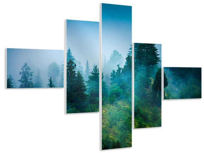 Hartschaumbild 5-teilig modern Geheimnisvoller Wald