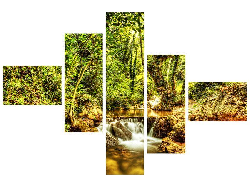 Hartschaumbild 5-teilig modern Wasserfall im Wald