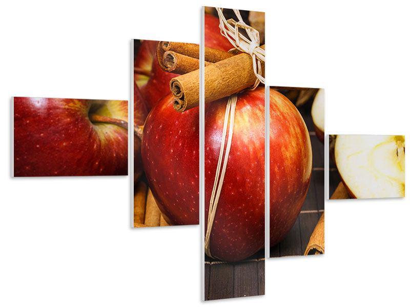 Hartschaumbild 5-teilig modern Äpfel
