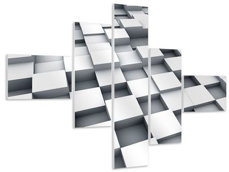 Hartschaumbild 5-teilig modern 3D-Kubus