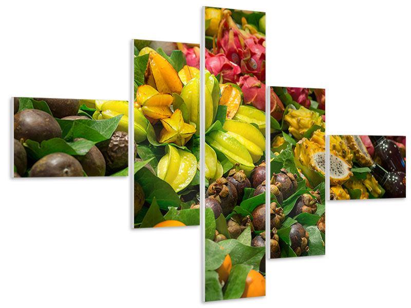 Hartschaumbild 5-teilig modern Früchte