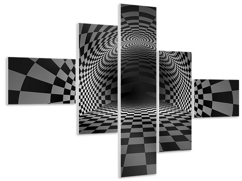 Hartschaumbild 5-teilig modern Abstraktes Schachbrett