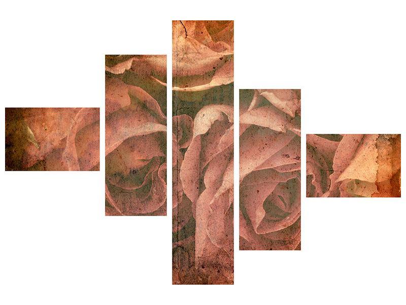 Hartschaumbild 5-teilig modern Rosenbukett