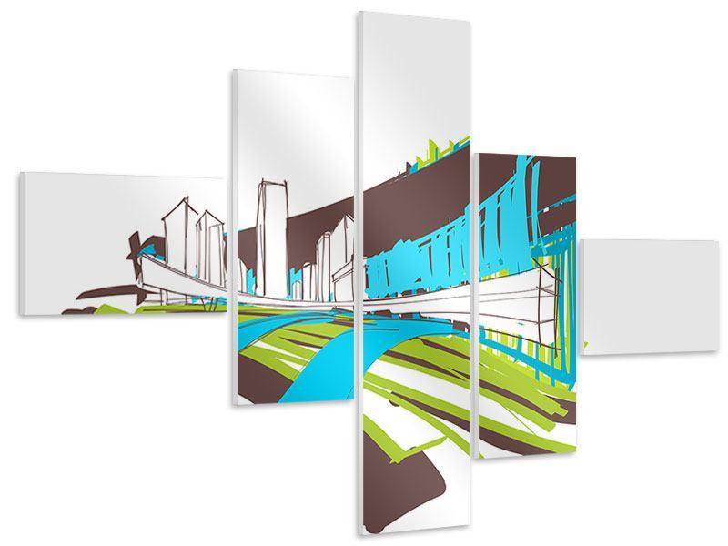 Hartschaumbild 5-teilig modern Graffiti Street-Art