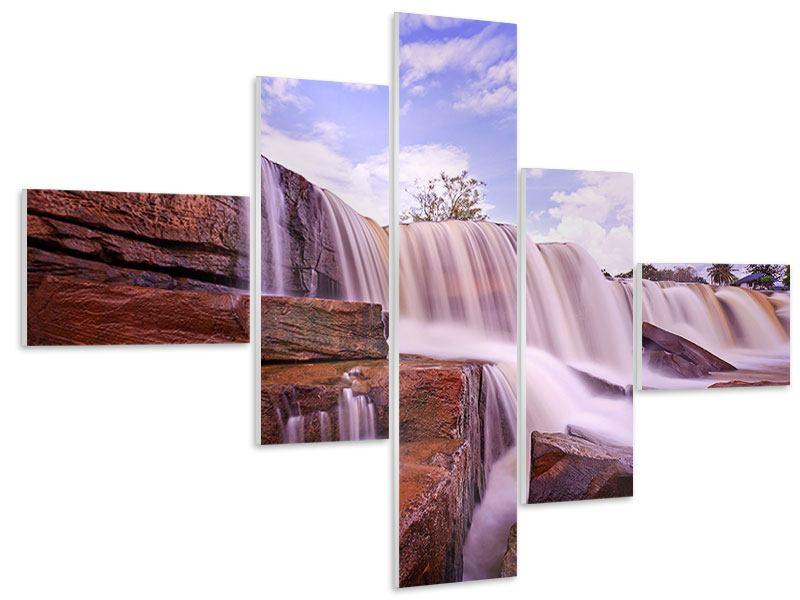 Hartschaumbild 5-teilig modern Himmlischer Wasserfall