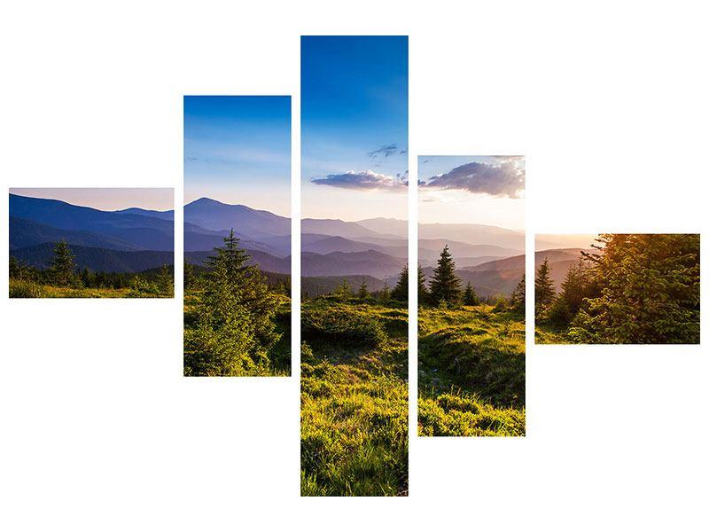 Hartschaumbild 5-teilig modern Friedliche Landschaft