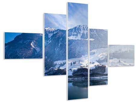 Hartschaumbild 5-teilig modern Winterwunderland
