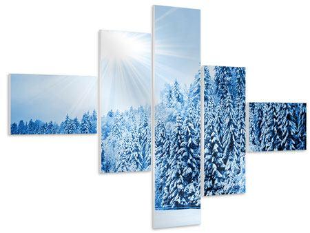 Hartschaumbild 5-teilig modern Wintermärchen