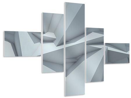 Hartschaumbild 5-teilig modern 3D-Kristallo