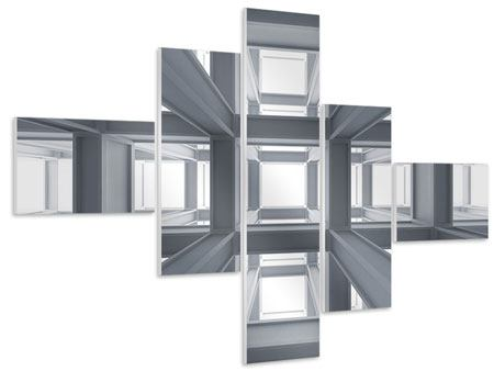 Hartschaumbild 5-teilig modern Räume