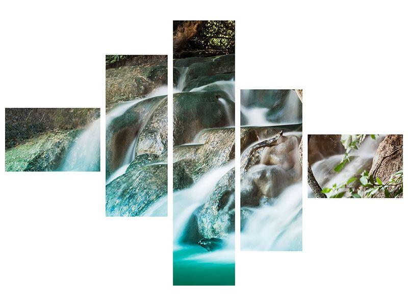 Hartschaumbild 5-teilig modern Am Fluss des Lebens