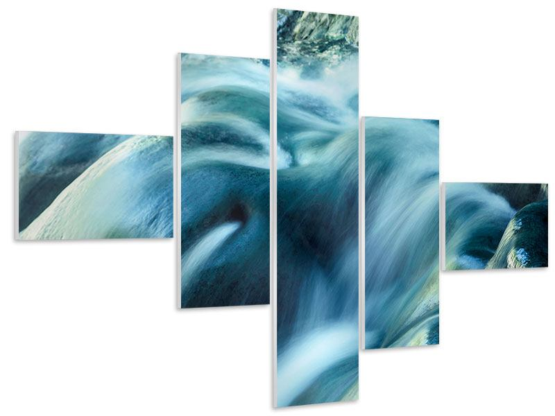 Hartschaumbild 5-teilig modern Das Fliessende Wasser