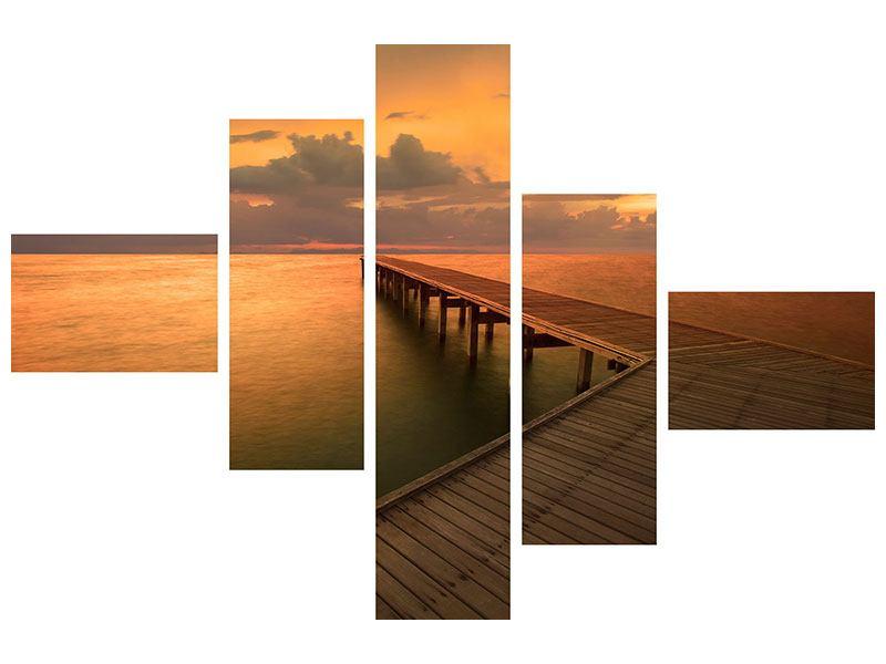 Hartschaumbild 5-teilig modern Der Steg am Meer