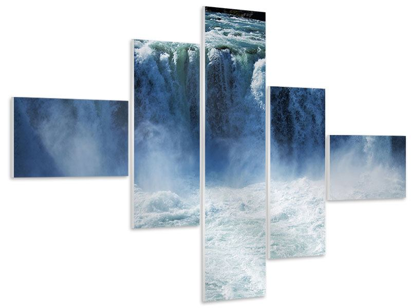 Hartschaumbild 5-teilig modern Mächtiger Wasserfall