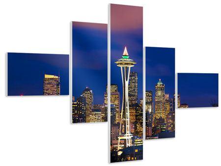 Hartschaumbild 5-teilig modern Skyline Seattle