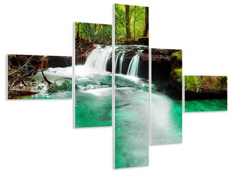 Hartschaumbild 5-teilig modern Der Fluss am Wasserfall
