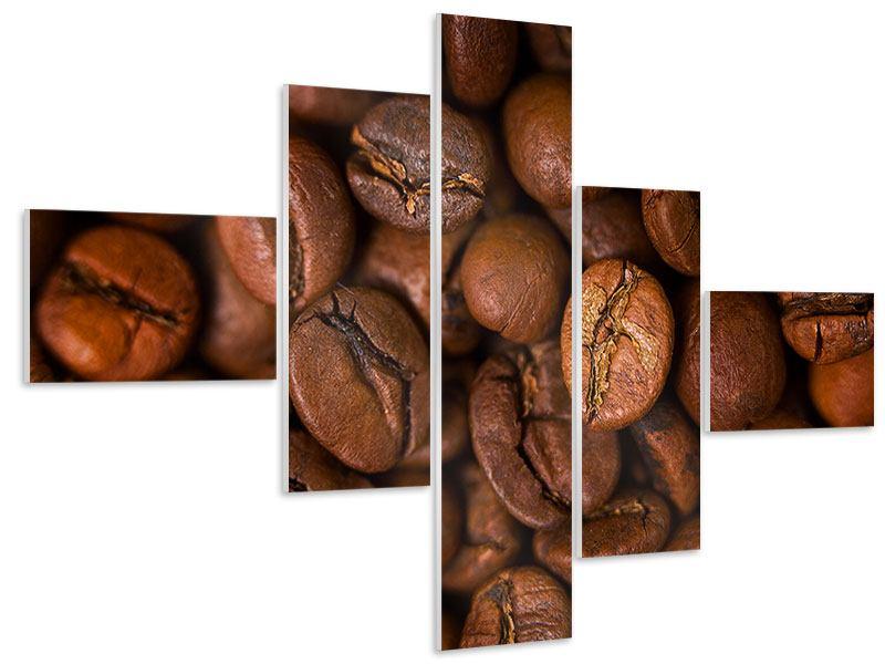 Hartschaumbild 5-teilig modern Close Up Kaffeebohnen