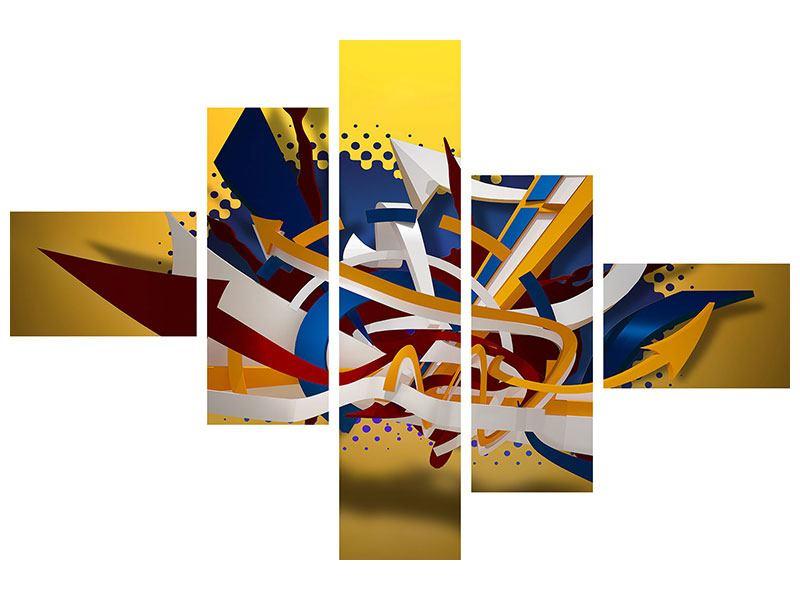 Hartschaumbild 5-teilig modern Graffiti Art